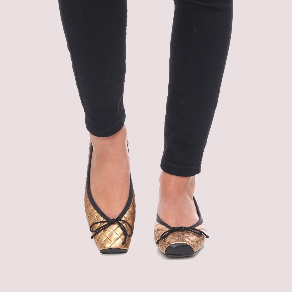 Kristen|שחור|ברונזה|נעלי בובה|נעלי בלרינה|נעליים שטוחות|נעליים נוחות|ballerinas