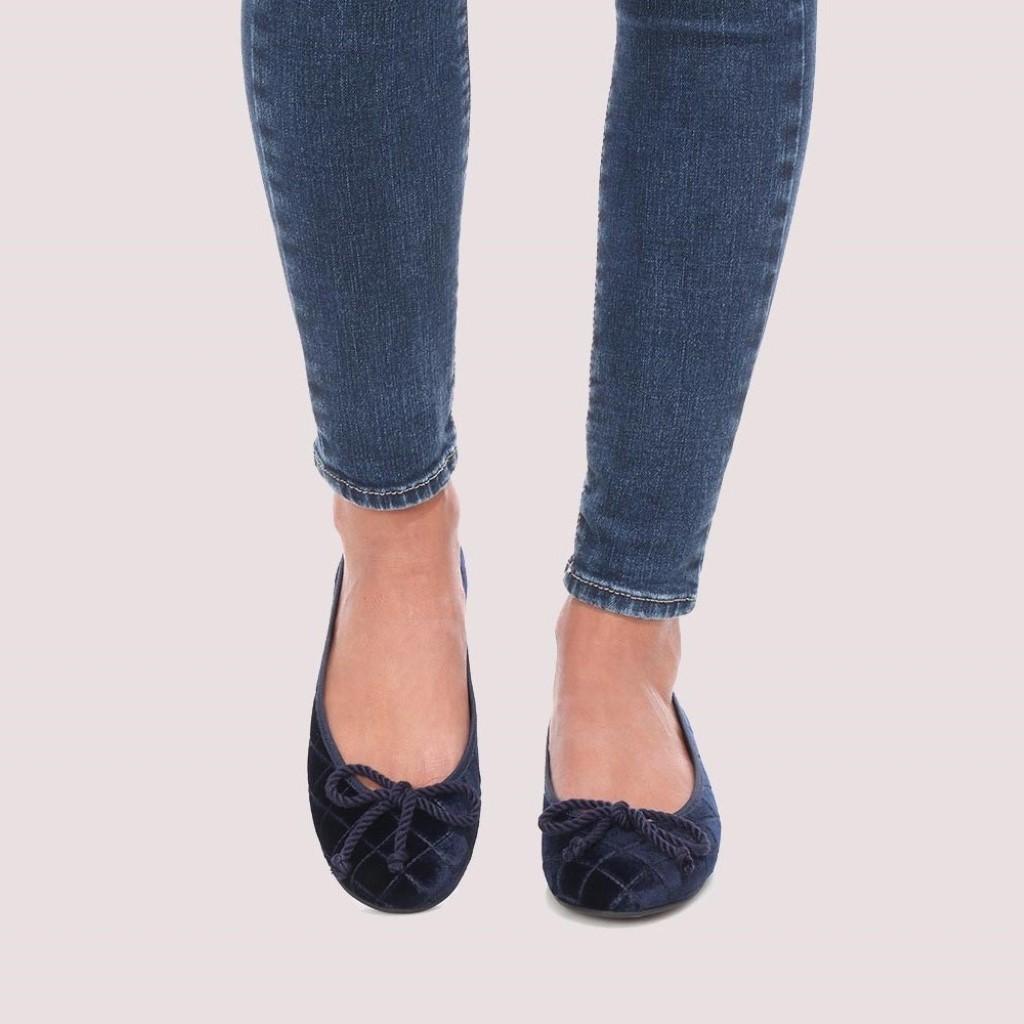 Rosario|כחול|נעלי בובה|נעלי בלרינה|נעליים שטוחות|נעליים נוחות|ballerinas
