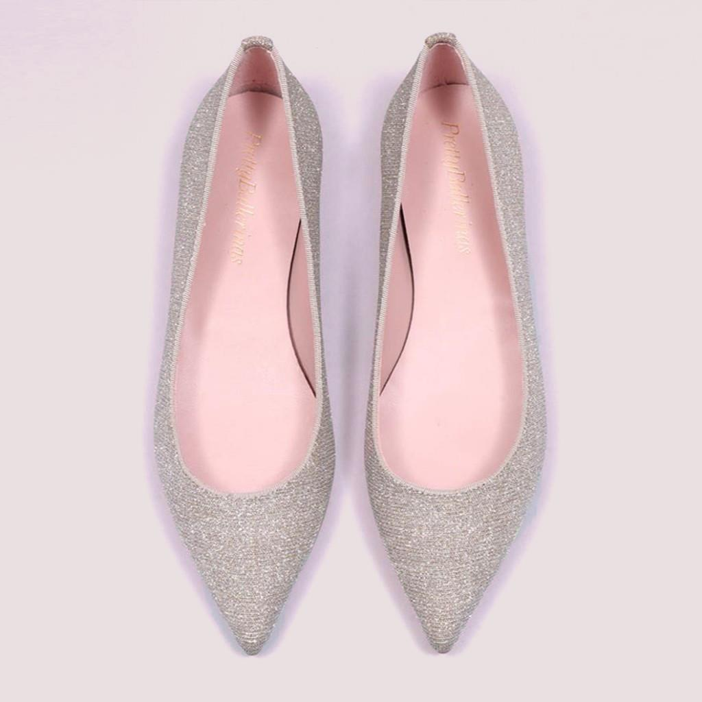 Ella|כסף|נעלי בובה|נעלי בלרינה|נעליים שטוחות|נעליים נוחות|ballerinas