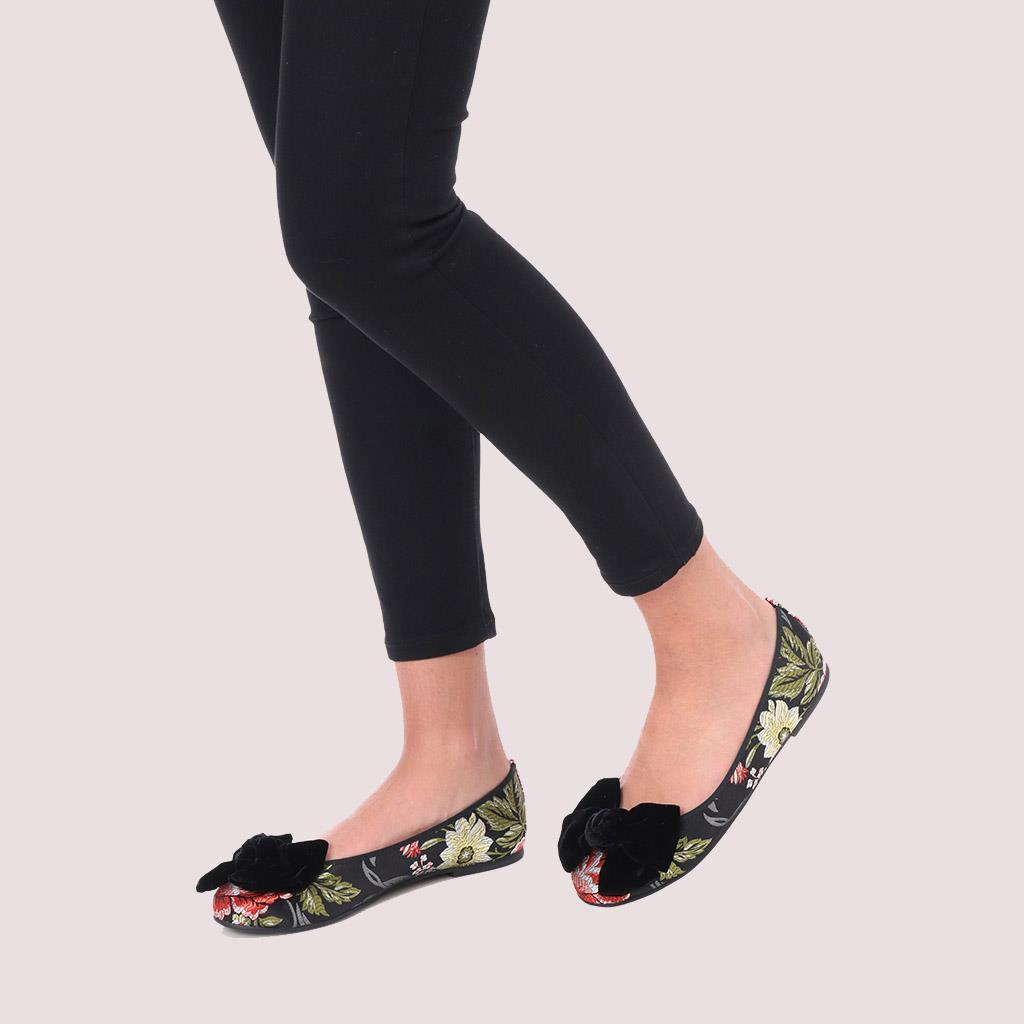 Rosario|שחור|אדום|כסף|נעלי בובה|נעלי בלרינה|נעליים שטוחות|נעליים נוחות|ballerinas