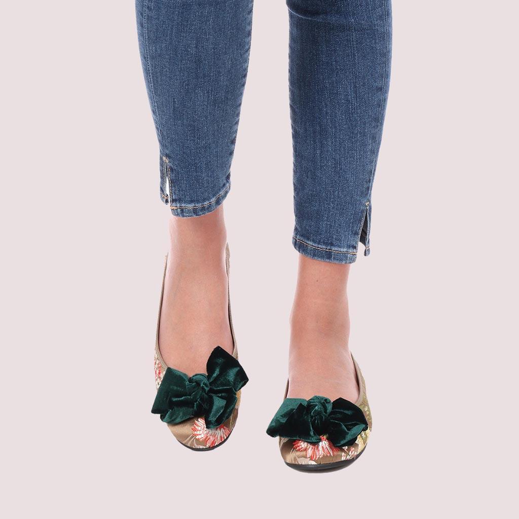 Rosario זהב אדום ירוק נעלי בובה נעלי בלרינה נעליים שטוחות נעליים נוחות ballerinas