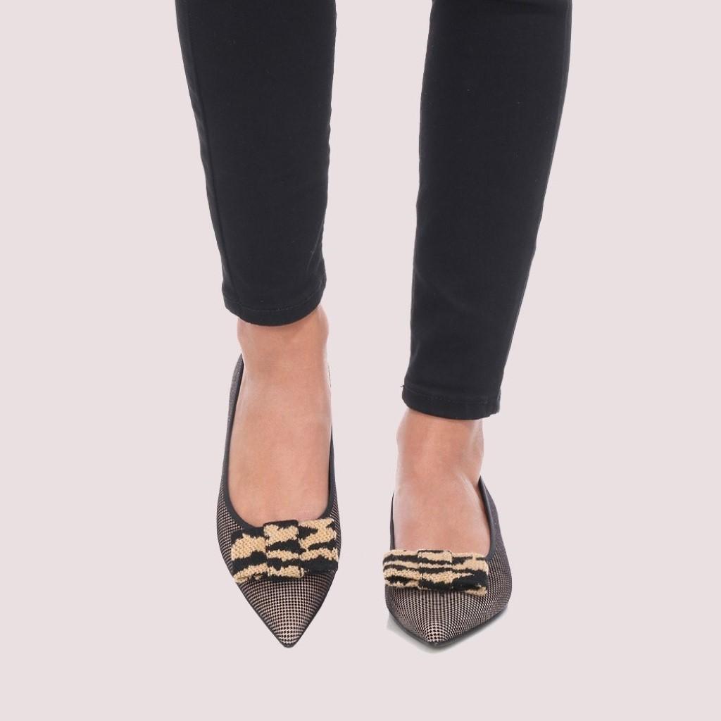 Clementine|שחור|כאמל|נעלי בובה|נעלי בלרינה|נעליים שטוחות|נעליים נוחות|ballerinas