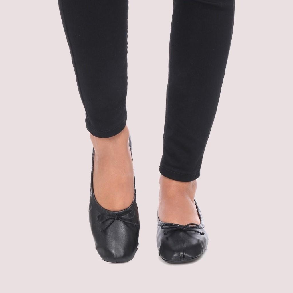 Zoey|שחור|נעלי בובה|נעלי בלרינה|נעליים שטוחות|נעליים נוחות|ballerinas