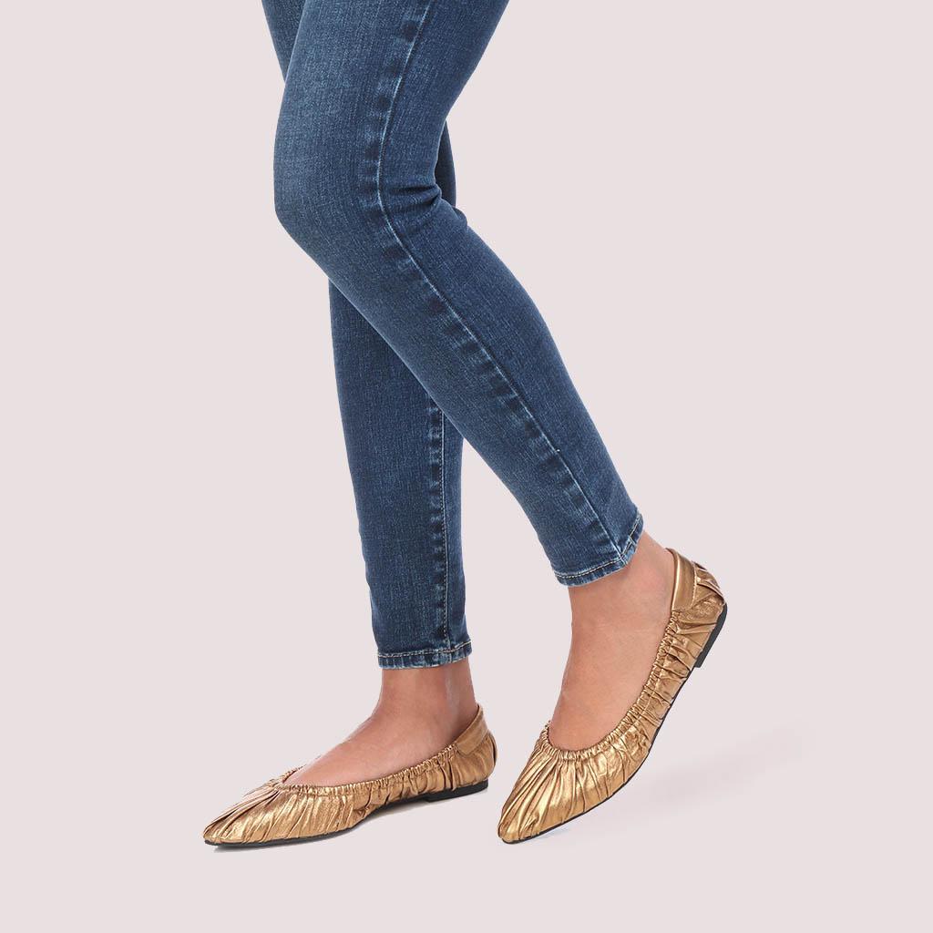 Tyra ברונזה נעלי בובה נעלי בלרינה נעליים שטוחות נעליים נוחות ballerinas