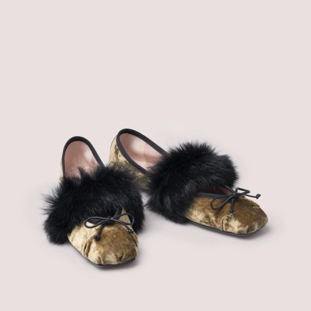 Kristen זהב צהוב שחור נעלי בובה נעלי בלרינה נעליים שטוחות נעליים נוחות ballerinas