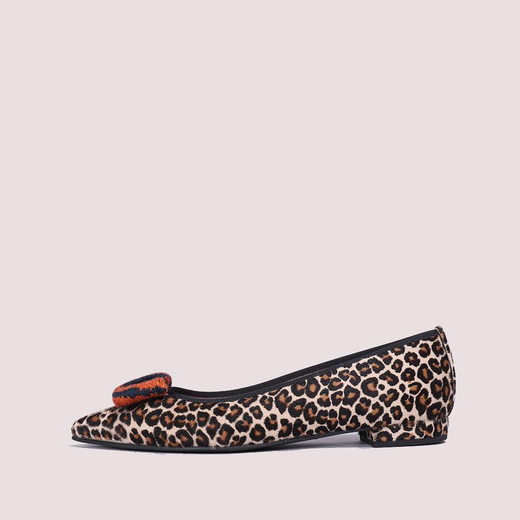 Clementine חום כתום שחור נעלי בובה נעלי בלרינה נעליים שטוחות נעליים נוחות ballerinas