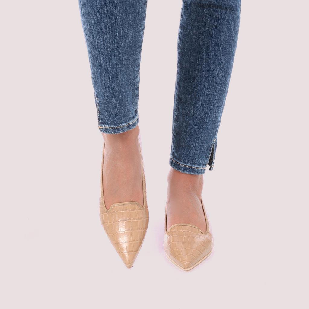 Clementine|חום|נעלי בובה|נעלי בלרינה|נעליים שטוחות|נעליים נוחות|ballerinas
