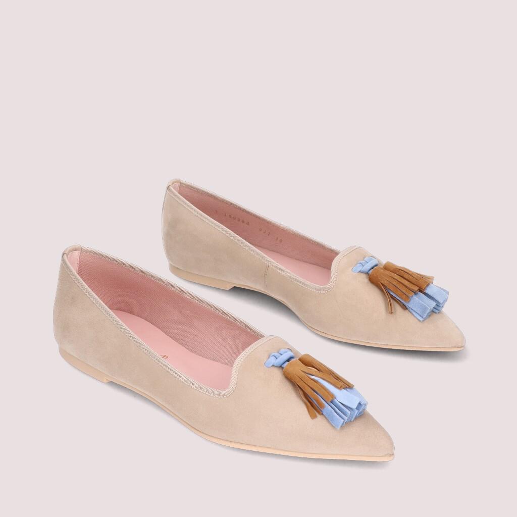 Ella|ניוד|כחול|נעלי בובה|נעלי בלרינה|נעליים שטוחות|נעליים נוחות|ballerinas