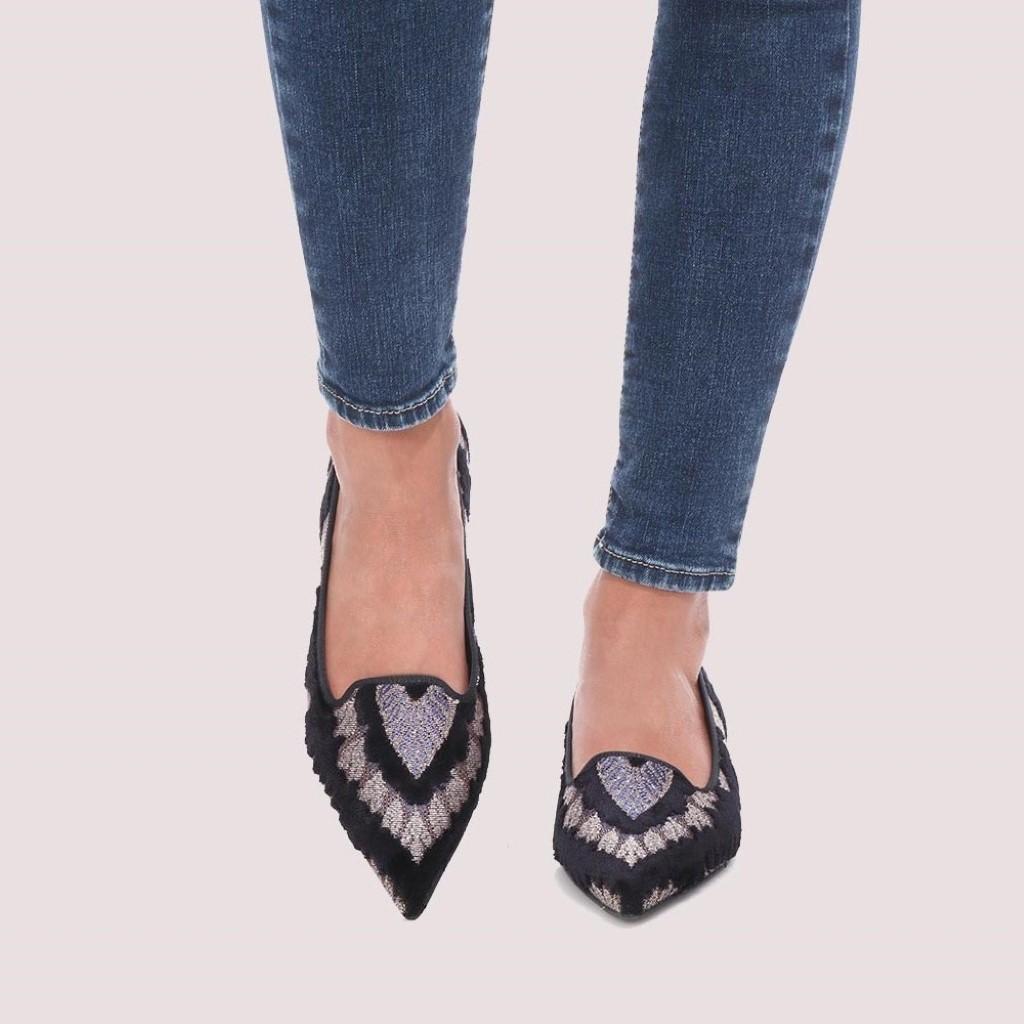 Clementine|כסף|שחור|נעלי בובה|נעלי בלרינה|נעליים שטוחות|נעליים נוחות|ballerinas