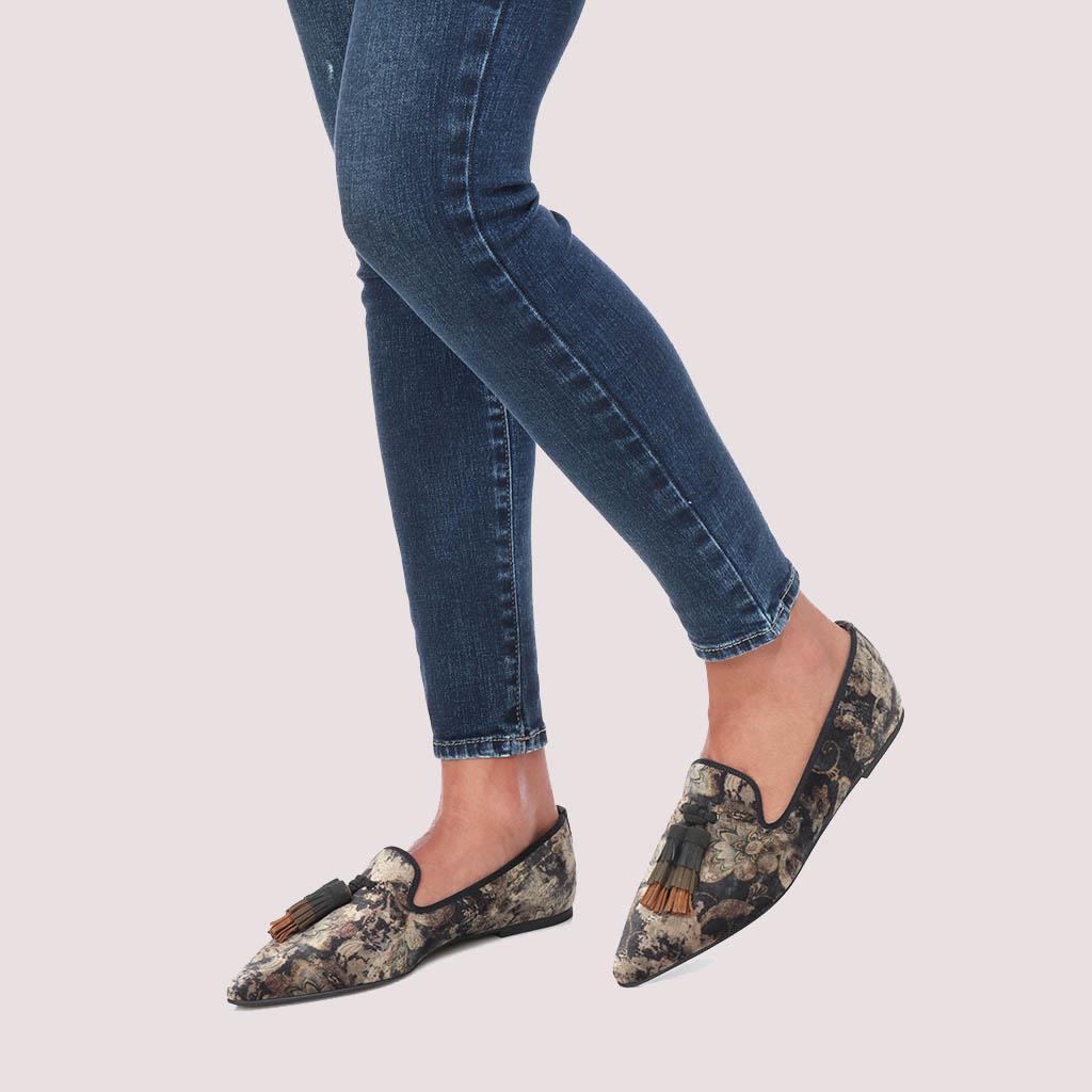 Tyra חום כאמל אבן אפור נעלי בובה נעלי בלרינה נעליים שטוחות נעליים נוחות ballerinas