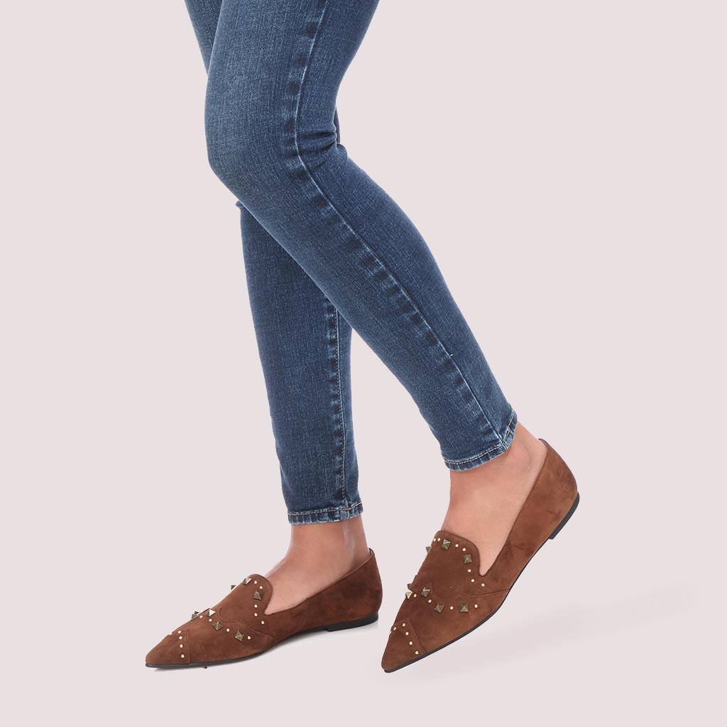 Ella|חום|נעלי בובה|נעלי בלרינה|נעליים שטוחות|נעליים נוחות|ballerinas