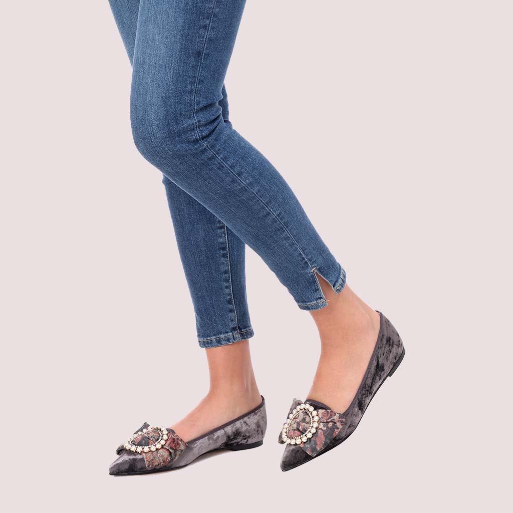 Ella|אפור|בורד|ירוק|נעלי בובה|נעלי בלרינה|נעליים שטוחות|נעליים נוחות|ballerinas